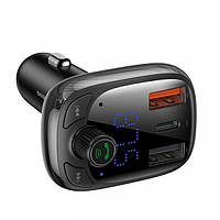 FM-трансмиттер Baseus T typed S-13 wireless MP3 car charger (PPS Quick Charger-EU) Black, фото 1