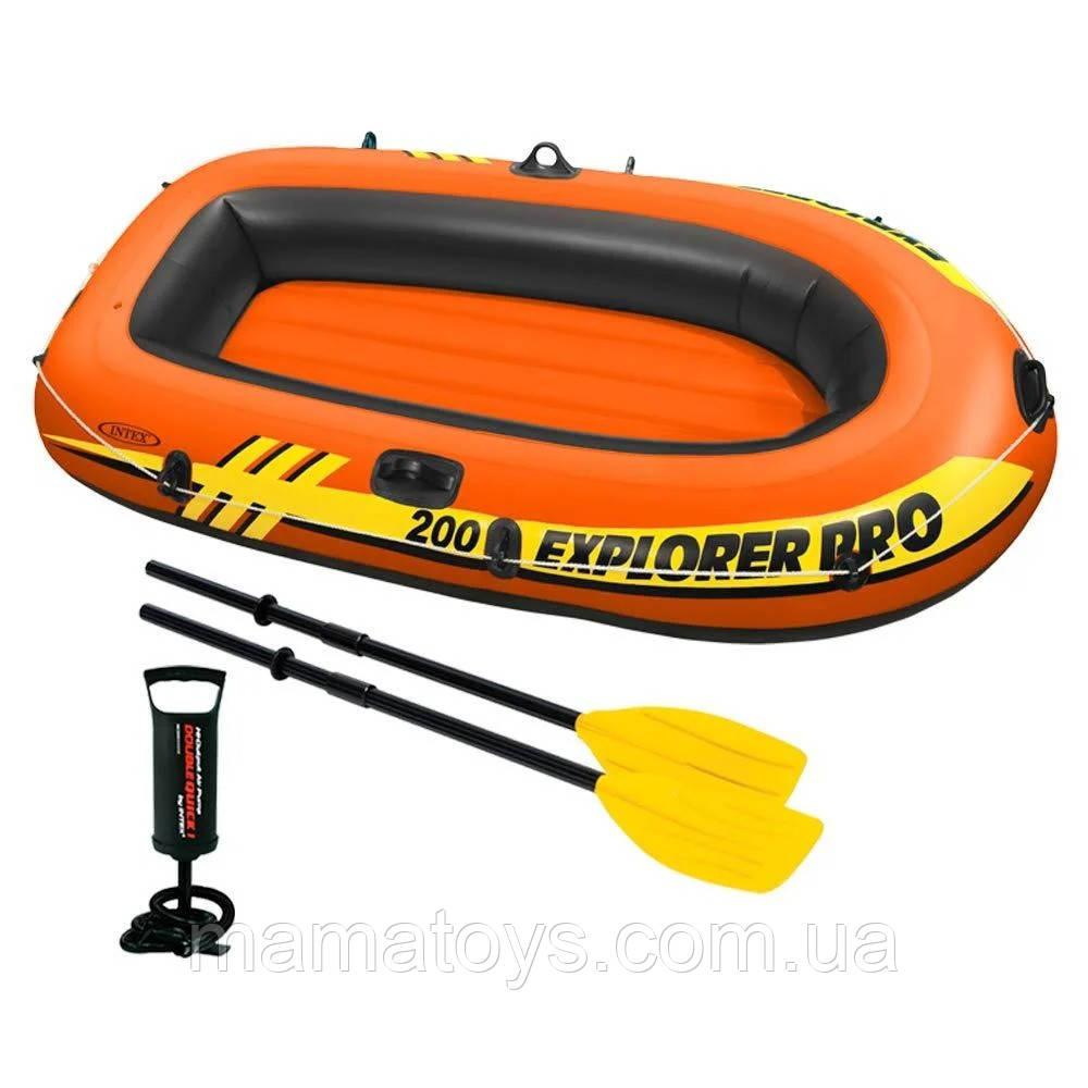 Надувная Лодка 58357 Интекс Explorer PRO 200 двухместная на 1 взрослого + ребенок Весла и насос 196 см