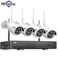 Комплект видеонаблюдения Hiseeu 8CH Wi-Fi 1080P 4 шт. NVR (регистратор и 4 камеры + всё для монтажа)