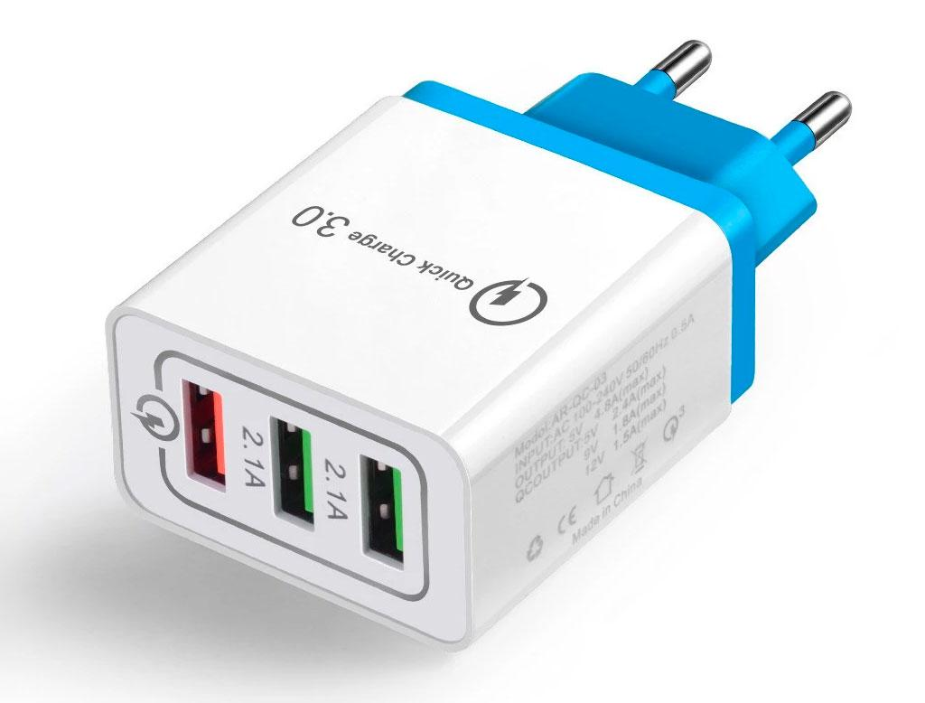 Зарядний пристрій Quick Charger на 3 порти Blue