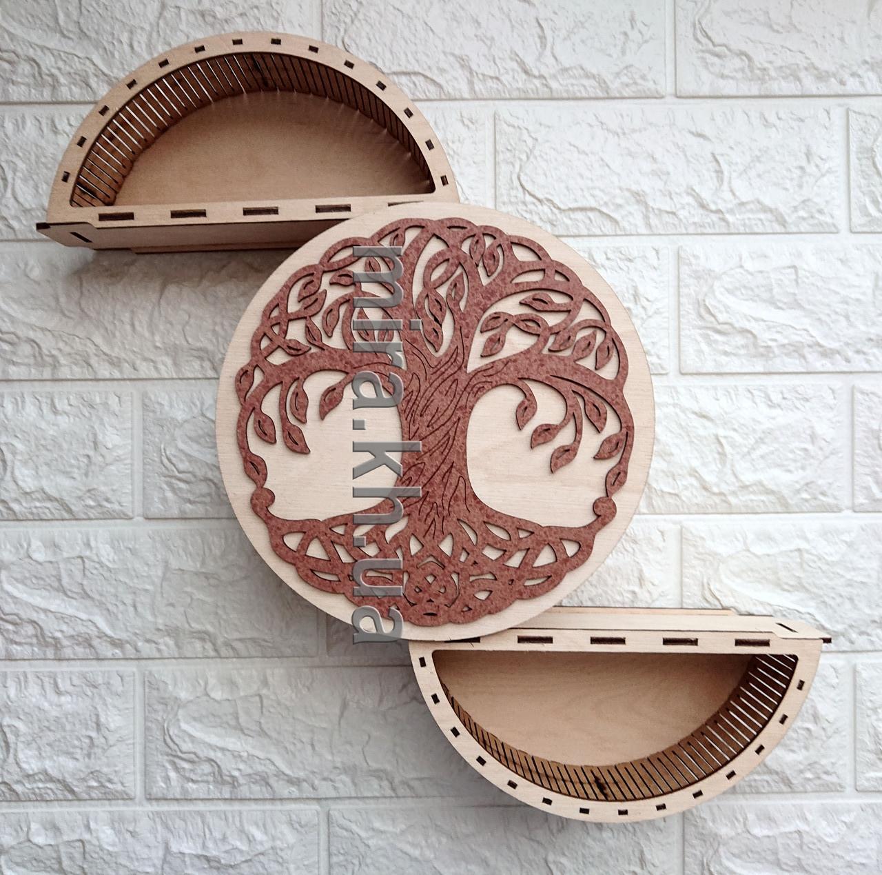 Шкатулка круглая Дерево (красно-белая или бело-красная)