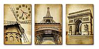 Красивые часы на стену модульные коричневые Париж 30х45 30х45 30х45 см, вип подарок