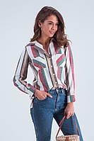 Женская рубашка с карманами «Мариса» в полоску