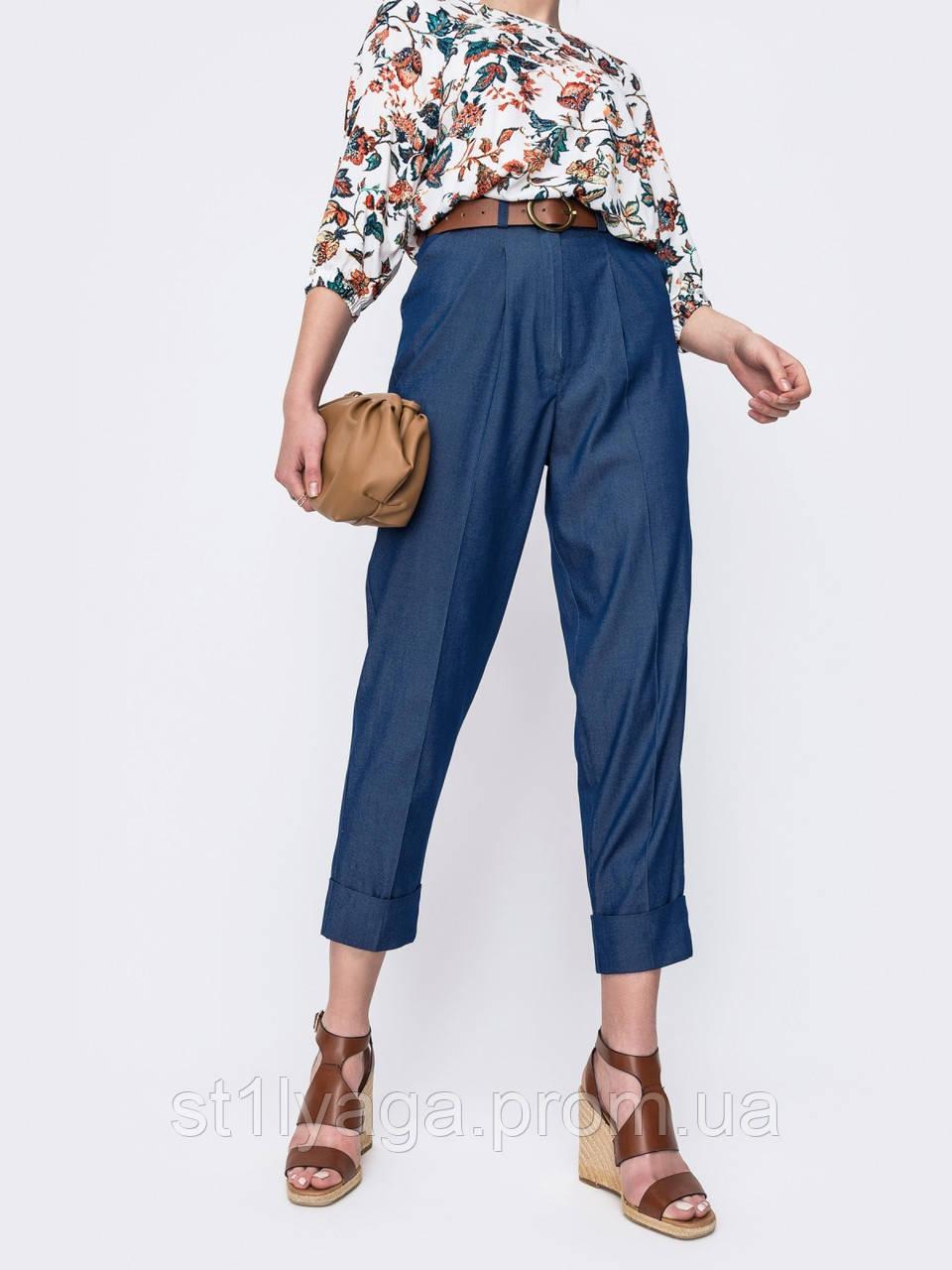 Джинсовые укороченные брюки с высокой талией  в синем цвете