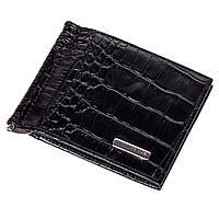 Зажим для денег кожаный черный Karya 0455-53