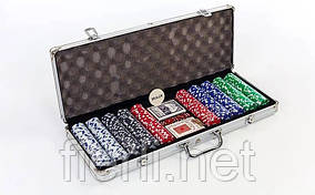 Покерный набор в алюминиевом кейсе на 500 фишек  №500