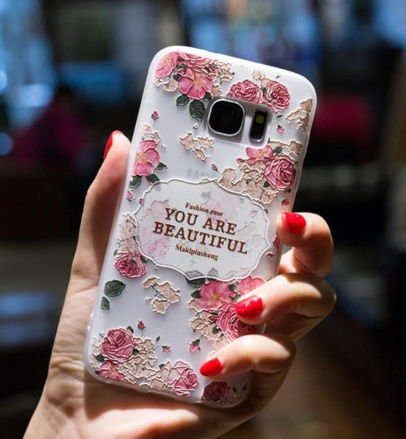 Силиконовый чехол с 3D цветы для Samsung Galaxy J7/J710 (2016)