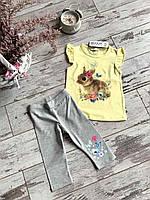 Костюм для дівчат( футболка + довгі шорти), різні кольори, розмір 92, 98, 104, 110, 116