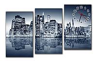 Дизайнерские настенные часы картина модульные в гостинную  Ночной город 30х60 30х60 30х60 см
