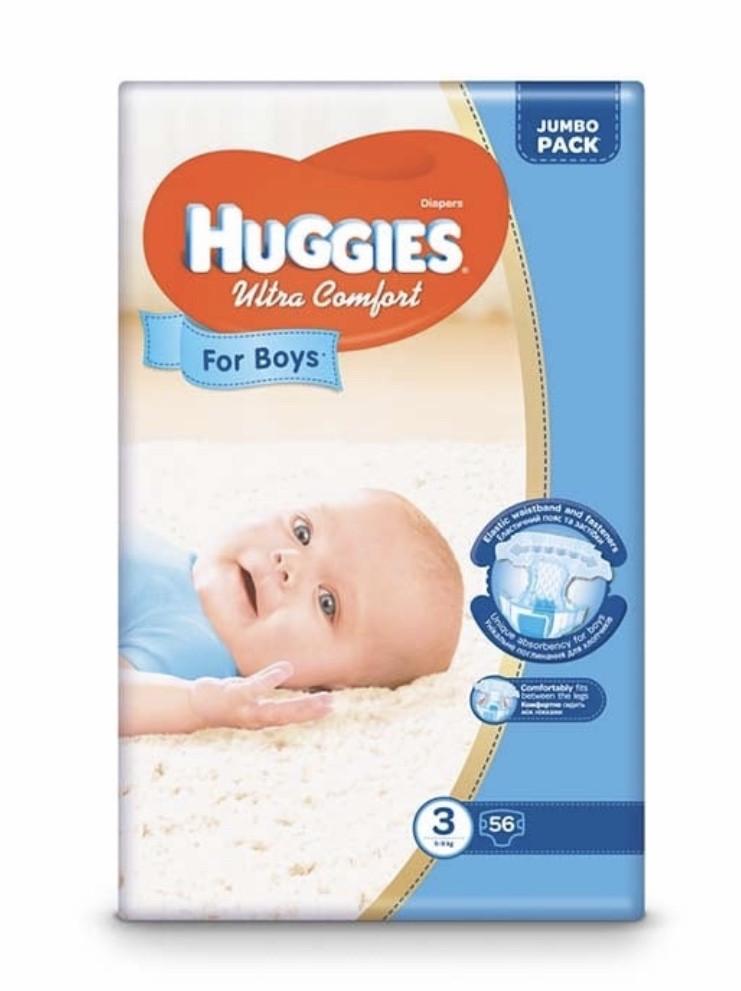 Подгузники Huggies Ultra Comfort Jumbo для мальчиков Размер 3 (5-9кг) 56 шт