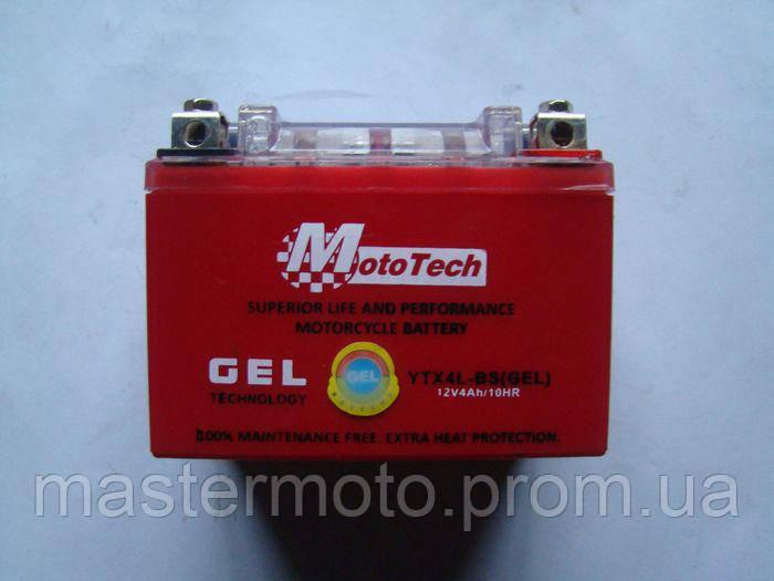 """Аккумулятор 12V 4A гелевый 115-70-85mm YTX4L-BS  """"MotoTech"""""""