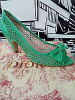 Туфли женские кожаные перфорированные салатовые итальянские Lea-Gu