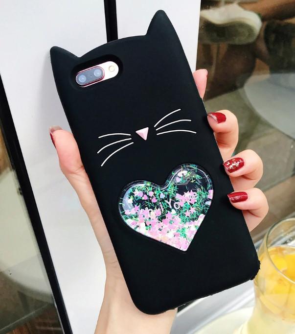 3D Чехол для Huawei P Smart 2019 Котик с ушками и сердечком