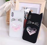 3D Чехол для Huawei P Smart 2019 Котик с ушками и сердечком, фото 4