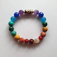 Браслет 7 чакр натуральные камни 10 мм и бусина Дзи 2 глаза Любовь