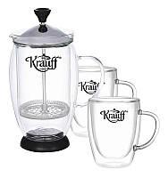 Френч-пресс Krauff 0.6 л + чашки 0.15 л 2 шт (26-177-025)