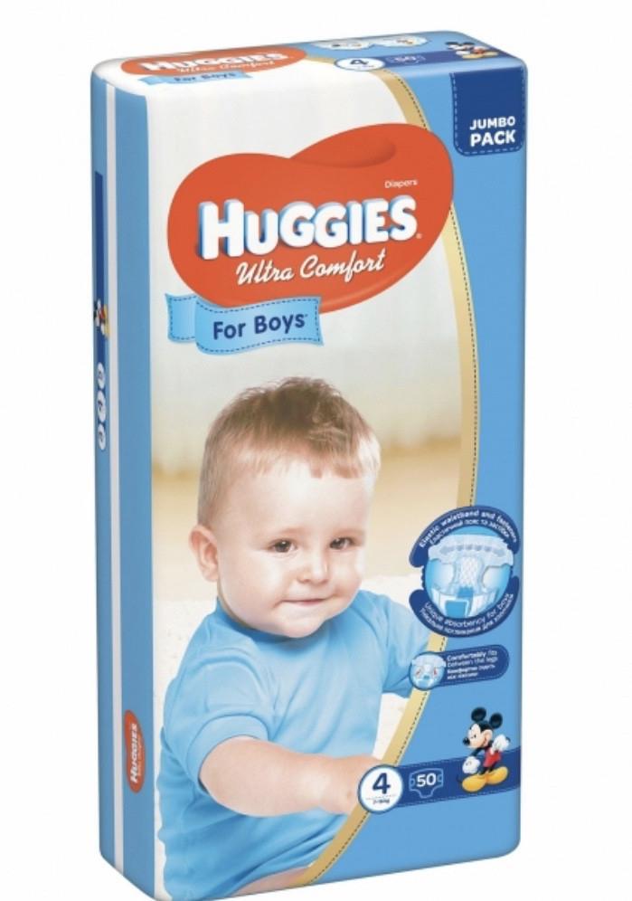 Подгузники Huggies Ultra Comfort Jumbo для мальчиков Размер 4 (7-16кг) 50 шт