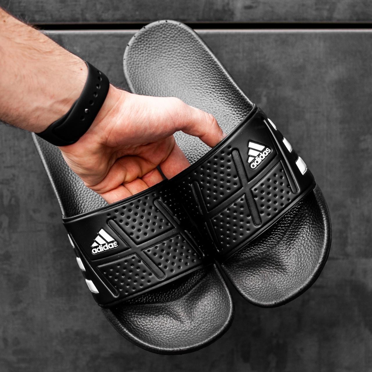 Мужские сланцы в стиле Adidas (full black), сланцы Адидас, шлепанцы Адидас (Реплика ААА)