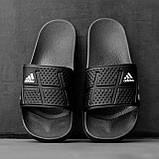 Мужские сланцы в стиле Adidas (full black), сланцы Адидас, шлепанцы Адидас (Реплика ААА), фото 3