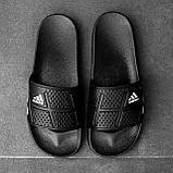 Мужские сланцы в стиле Adidas (full black), сланцы Адидас, шлепанцы Адидас (Реплика ААА), фото 4