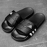 Мужские сланцы в стиле Adidas (full black), сланцы Адидас, шлепанцы Адидас (Реплика ААА), фото 5