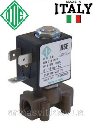 """Электромагн. клапан для воздуха 1/8"""", НЗ, FKM, -10+140°С, ODE 21JP1RRV23 нормально закрытый, прямого дейстия."""