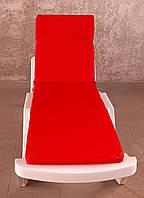 Матрас для шезлонга или Пляжный матрас.Красный, однотонный.