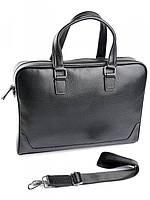 Черный кожаный портфель с отделением под нетбук 9905-1 Black