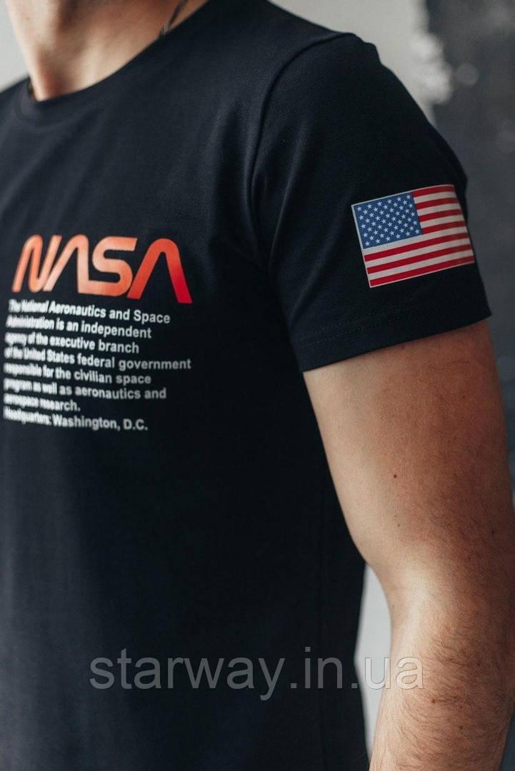 Черная футболка в стиле Nasa flag logo   логотип принт