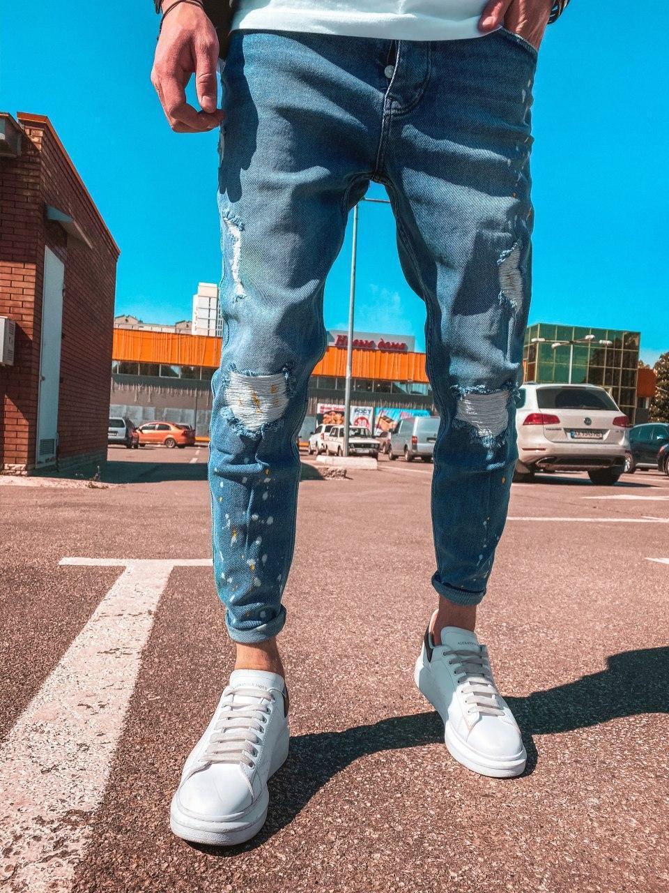 Чоловічі завужені джинси з латками сині