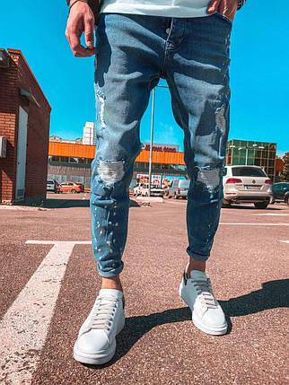 Чоловічі завужені джинси з латками сині, фото 2