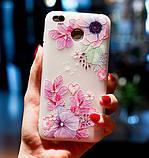 Силиконовый чехол с 3D цветы для Xiaomi Redmi 5 Plus, фото 3