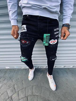 Мужские зауженные джинсы черного цвета с цветными заплатками, фото 2