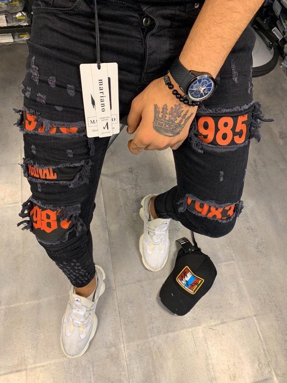 Чоловічі завужені джинси темно-сірого кольору з червоним
