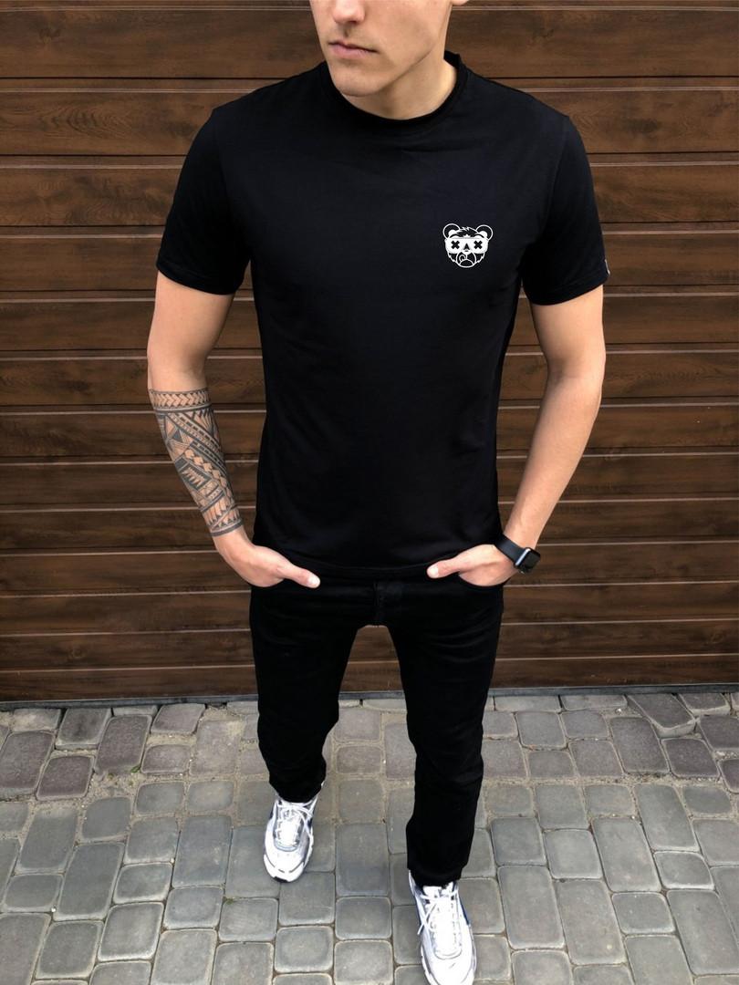 Мужская чернаяповседневная однотонная футболка