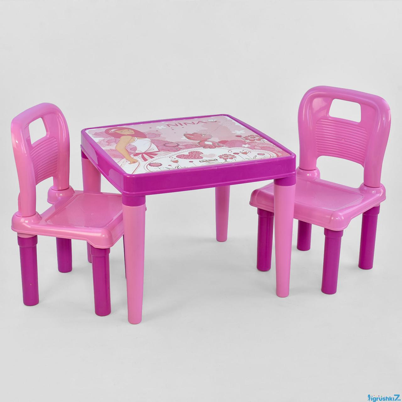 Стол с двумя стульчиками 03-414  ЦВЕТ РОЗОВЫЙ в коробке