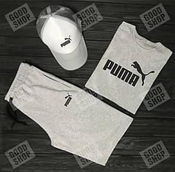Мужской комплект футболка кепка и шорты Puma серого и белого цвета (люкс копия)
