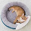 Домик лежанка для кошки собаки круглый лежак трансформер серый 40 см, фото 6