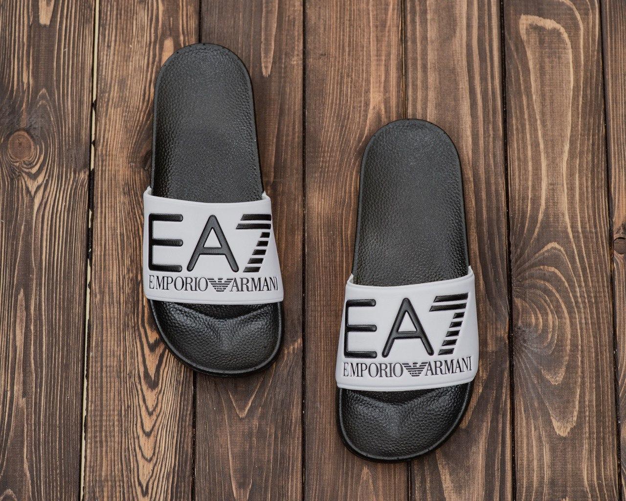 Чоловічі літні шльопанці сірого кольору ЕА7 Емпоріо Армані