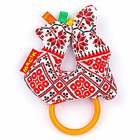 Плюшевая погремушка с прорезывателем Этно Птичка с кольцом Масик (Украина) МС 010101-04