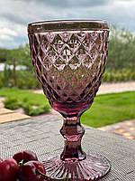 Бокалы для вина из цветного стекла Розовый Мокко (6 предметов) кедр