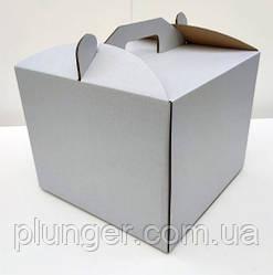 Коробка картонная для торта белая, 25 см х 25 см х 20 см, микрогофрокартон