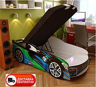 Кровать машинка серия Space 03 модель BMW сине-зеленый со спортивным матрасом и подушкой