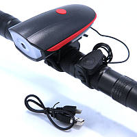Передняя велосипедная фара + сигнал Robesbon 7588 велофонарь USB Red