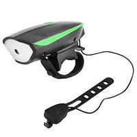 Передняя велосипедная фара + сигнал Robesbon 7588 велофонарь USB Green