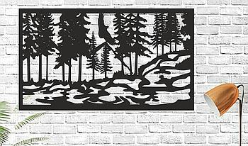 Декоративная деревянная картина Панно Handmade 0405030  50х30см Черное (1149836520)