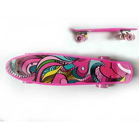 Детский скейт пенни-борд розовый Profi MS 0749-5