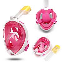 Маска для плавання, пірнання дайвінгу снорклінга Tribord FREEBREATH на все обличчя (S/M, L/XL) Рожевий