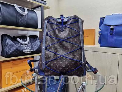 Рюкзак Louis Vuitton кожаный   Большой вместительный рюкзак Луи Виттон синего цвета под заказ 10-15 дней