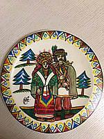 """Декоративна тарілка дерев'яна мальована """"Гуцул і Гуцулка"""""""